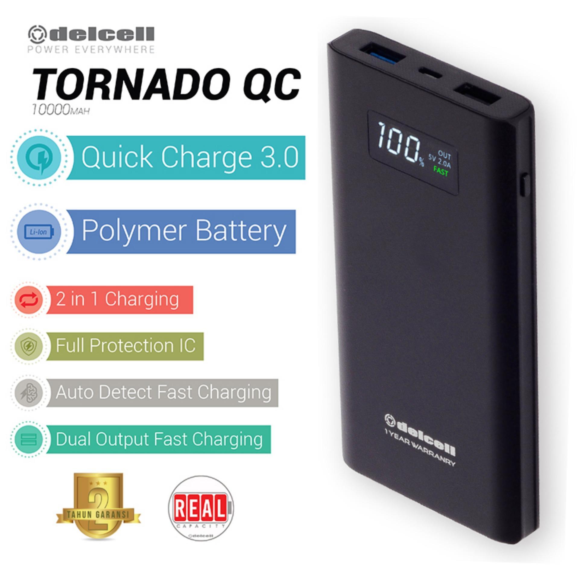 Delcell 10000mAh Powerbank TORNADO Support Quick Charge 3.0A Real Capacity Polymer Battery Slim Powerbank Garansi Resmi 1 Tahun Dual Output Power Bank Berkualitas - Black - Black