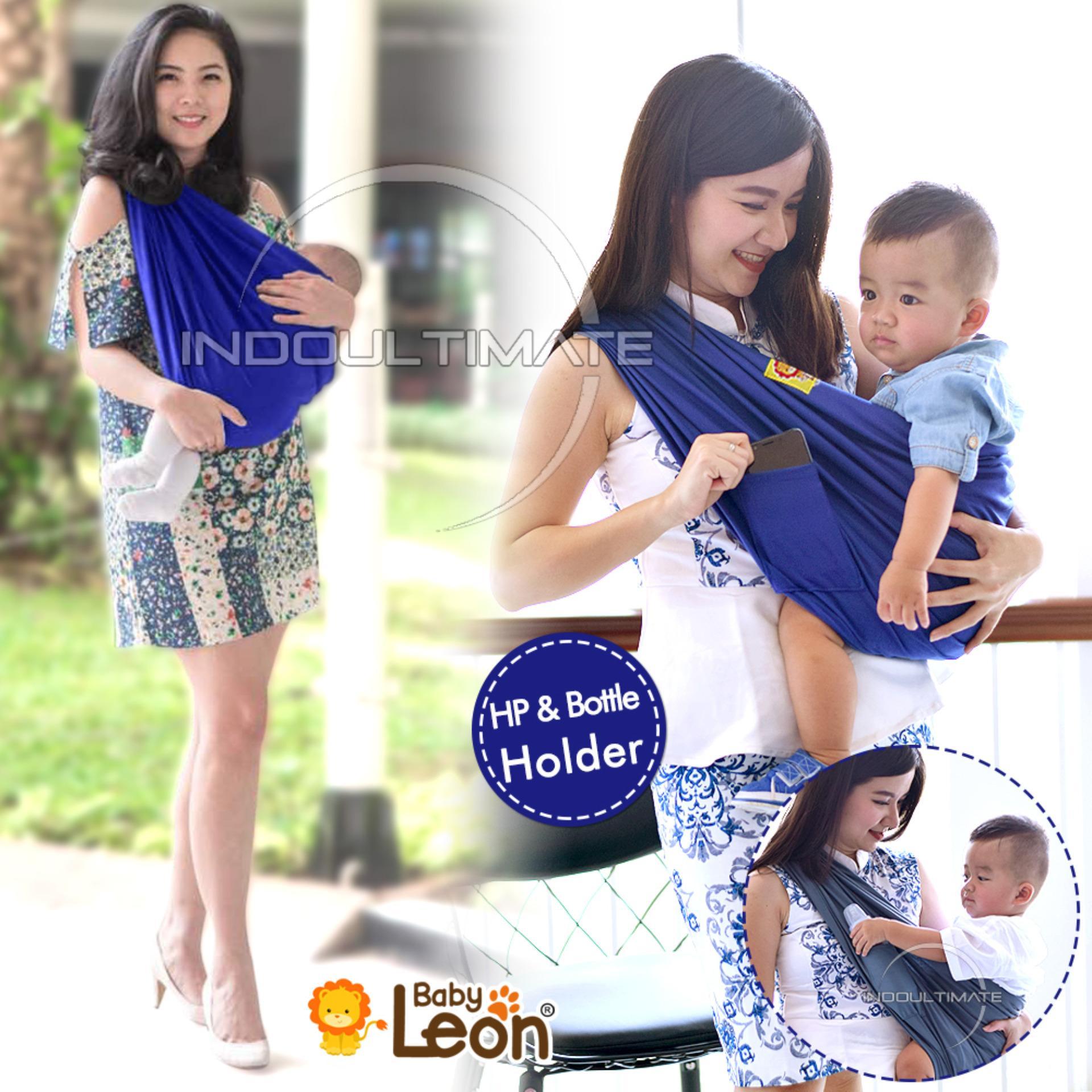 BABY LEON GENDONGAN Bayi Kaos/Geos/selendang Bayi Praktis BY 44 GB Polos Ukuran L - Biru Benhur