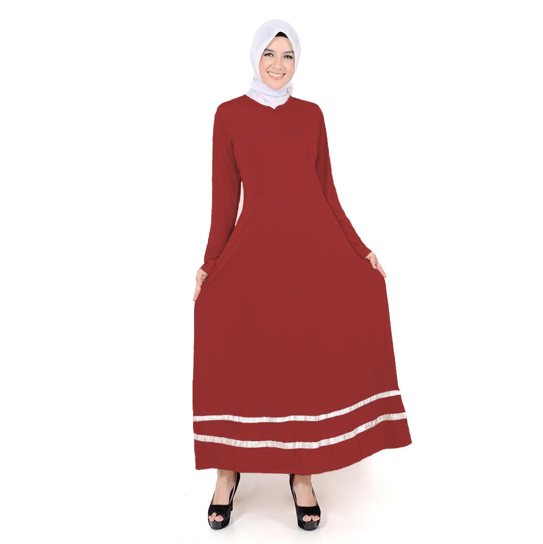 Long Dress Maxi tangan panjang Muslim variasi pita dan seleting - Fathina