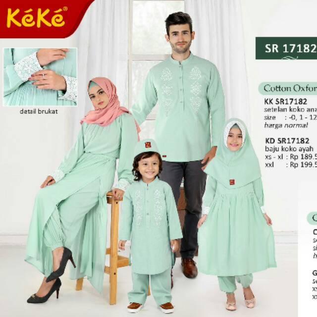 (size 6 - 12) Baju Busana Muslim KeKe Sarimbit Couple Keluarga SR 2 HIJAU/PEACH/BIRU (Gamis Anak size 9)