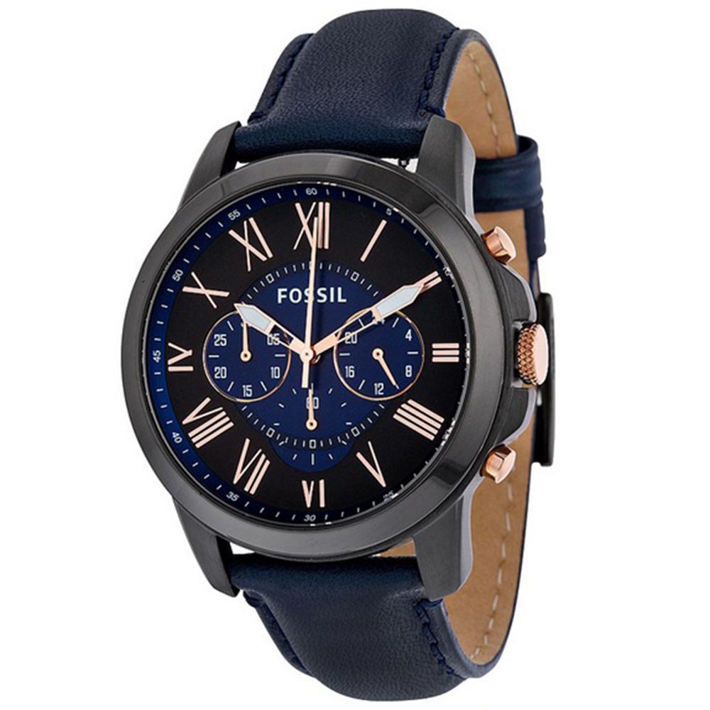 Fossil Grant Chronograph - Jam Tangan Pria - Biru Navy - Tali Kulit - FS5061 - Watch