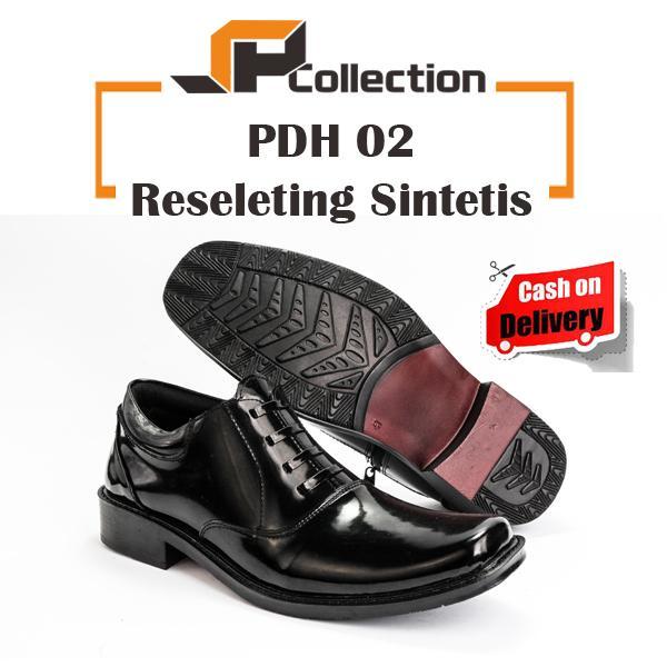 JAFERI Sepatu PDH 02 Reseleting Sintetis Warna Hitam Bahan Kulit Sintetis Untuk Dinas Ke Kantor,