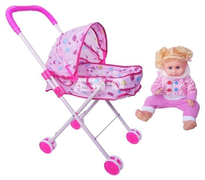 Stroller Boneka 4 Roda With Doll