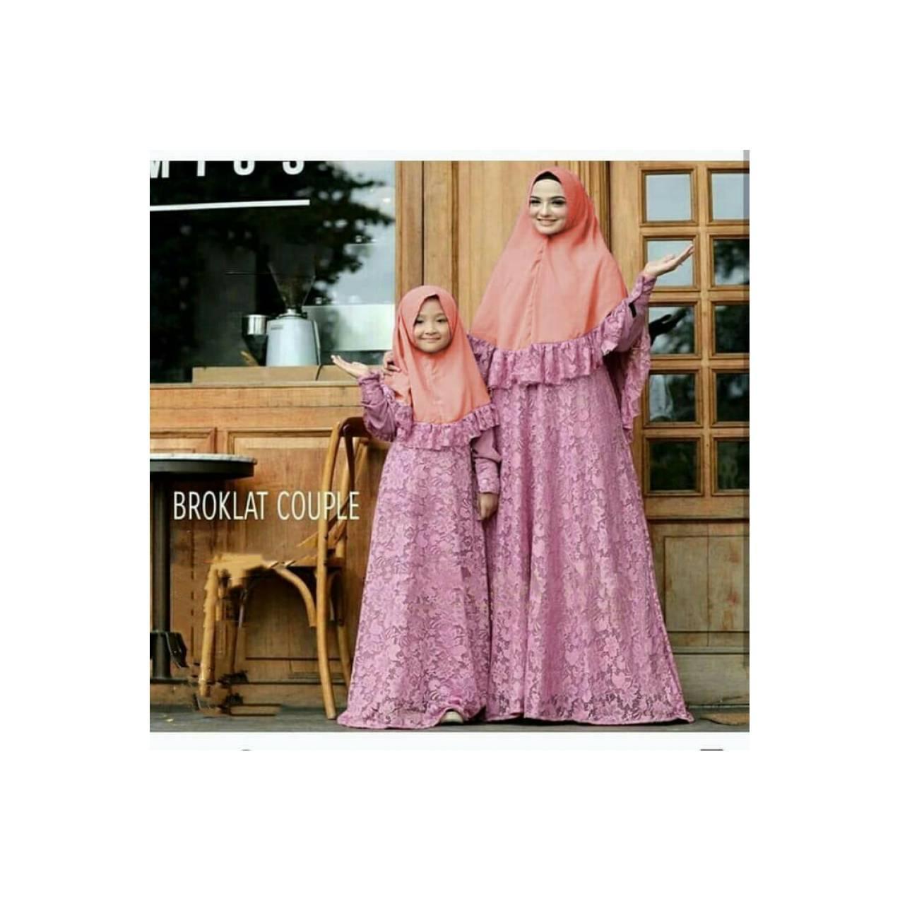 Gamis Brokat couple mom kid | baju muslim pasangan ibu anak