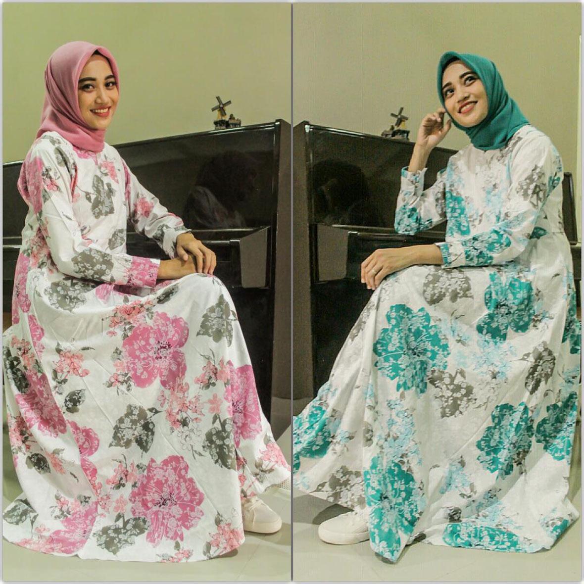 CIPITIHOLIC Baju Gamis Cantik Bahan Katun Motif Gn1686-B - Ada Sleting Depan Cocok Untuk Busui