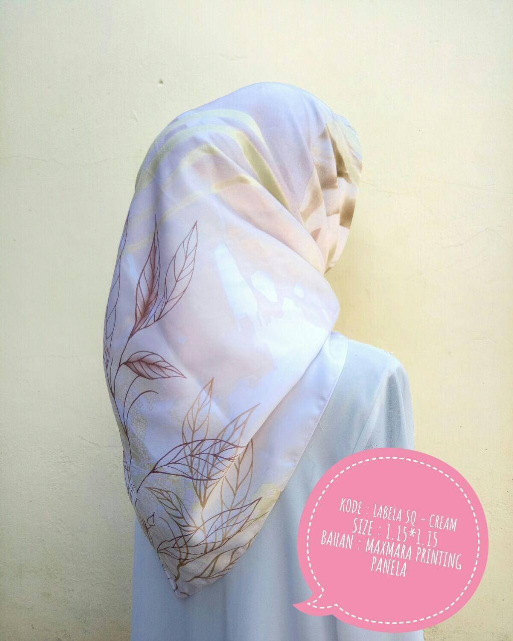 Labela SQ Jilbab Segi Empat Kerudung Segi Tiga Panel Motif Maxmara Printing Exclusive dan Limited Bunga by Nggemesin Hijab