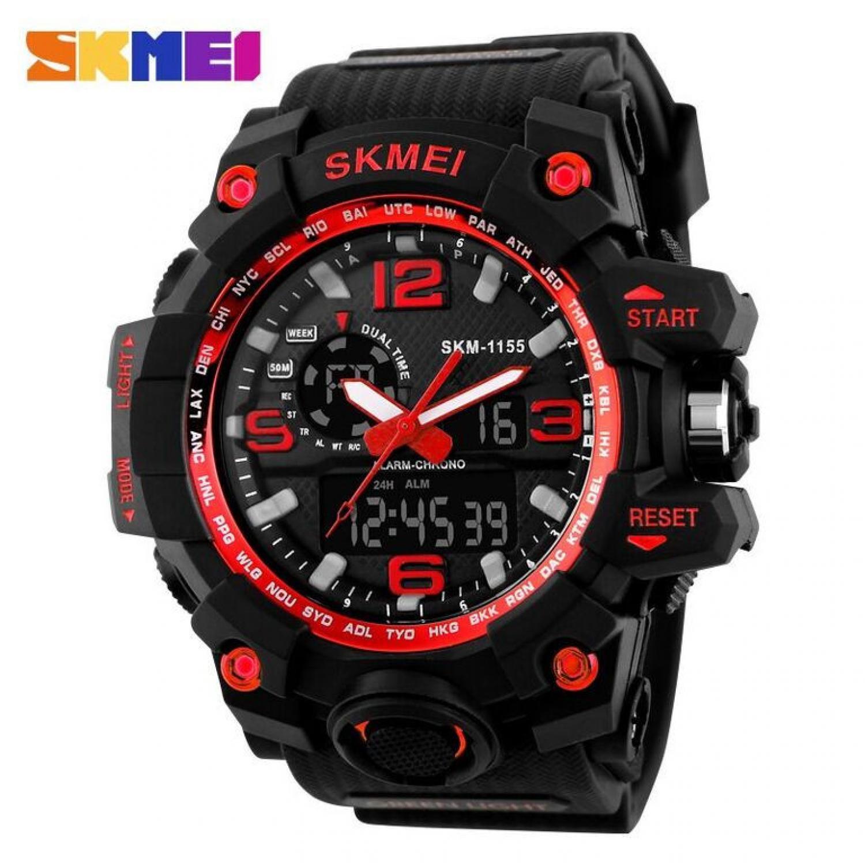 Jam tangan SKMEI 1155 Original Busana Pria Digital LED Display Sport elegan murah berkualitas QUARTZ Watch 50 M Tahan Air Dual Layar, stop watch