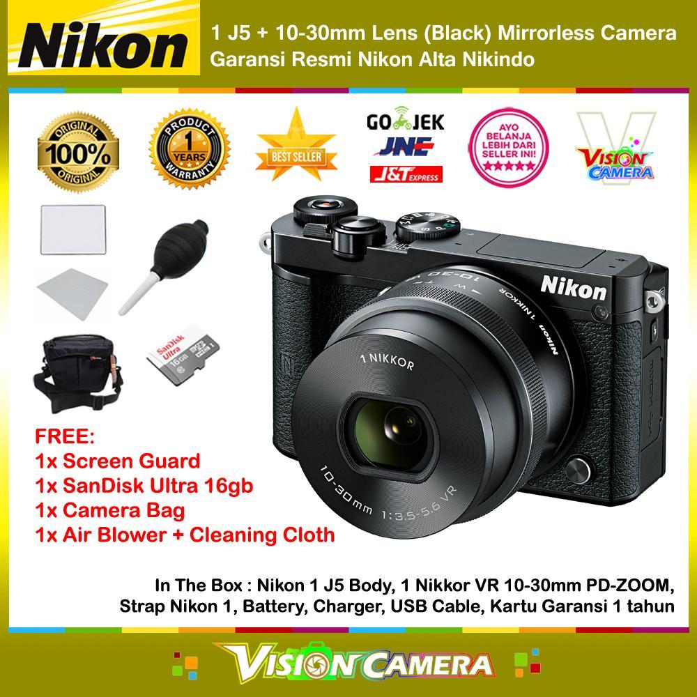 Daftar Harga Kamera Nikon 1 J5 Terbaru Bulan Ini November 2018 Double Kit 10 30mm 30 110mm Black Vr Lens Wifi 4k Mirrorless Camera Garansi Resmi 1th