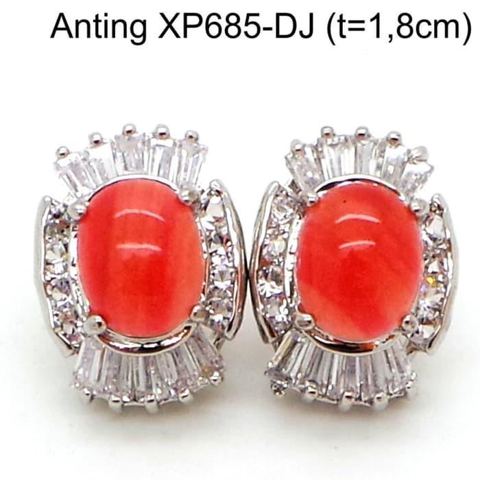 Anting Tusuk Batu Perhiasan Lapis Emas Putih Aksesoris Wanita XP685-DJ