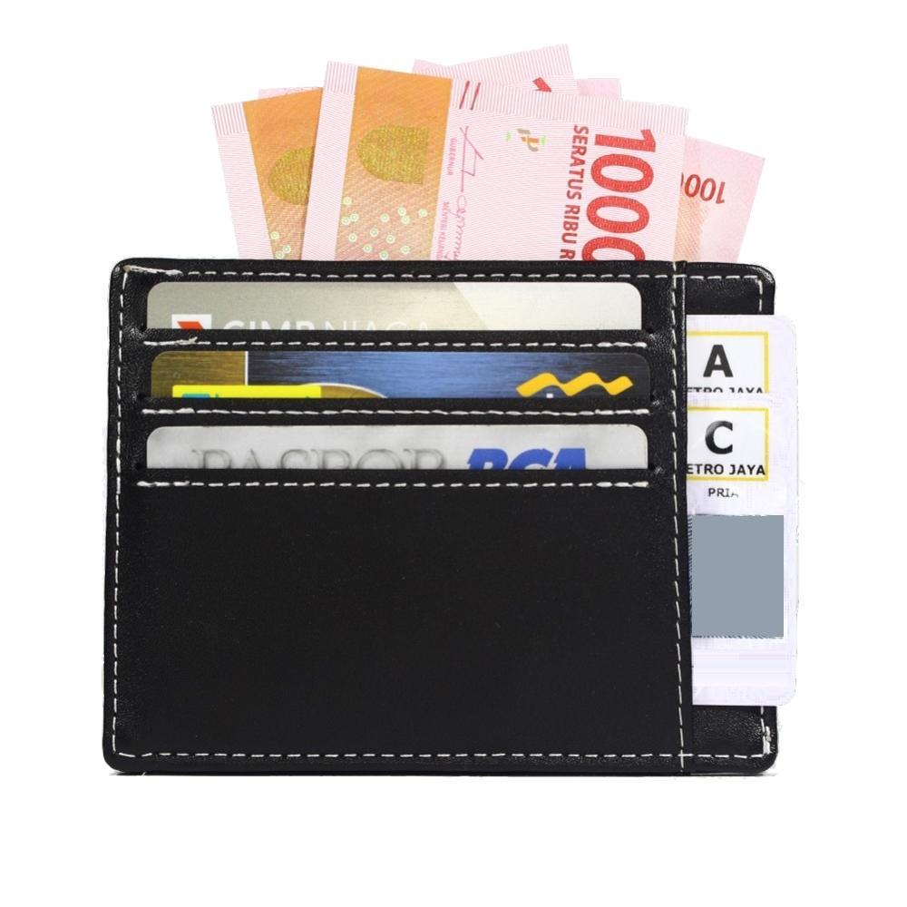Enzo - Dompet Kartu Kulit Tipis - Slim Small Card Holder Leather Wallet - Hitam -