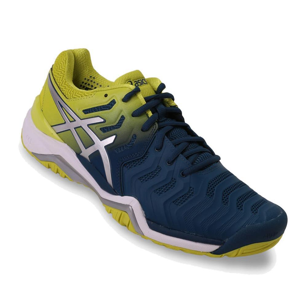 Asics Gel-Resolution 7 Men's Tennis Shoes - Kuning/Biru