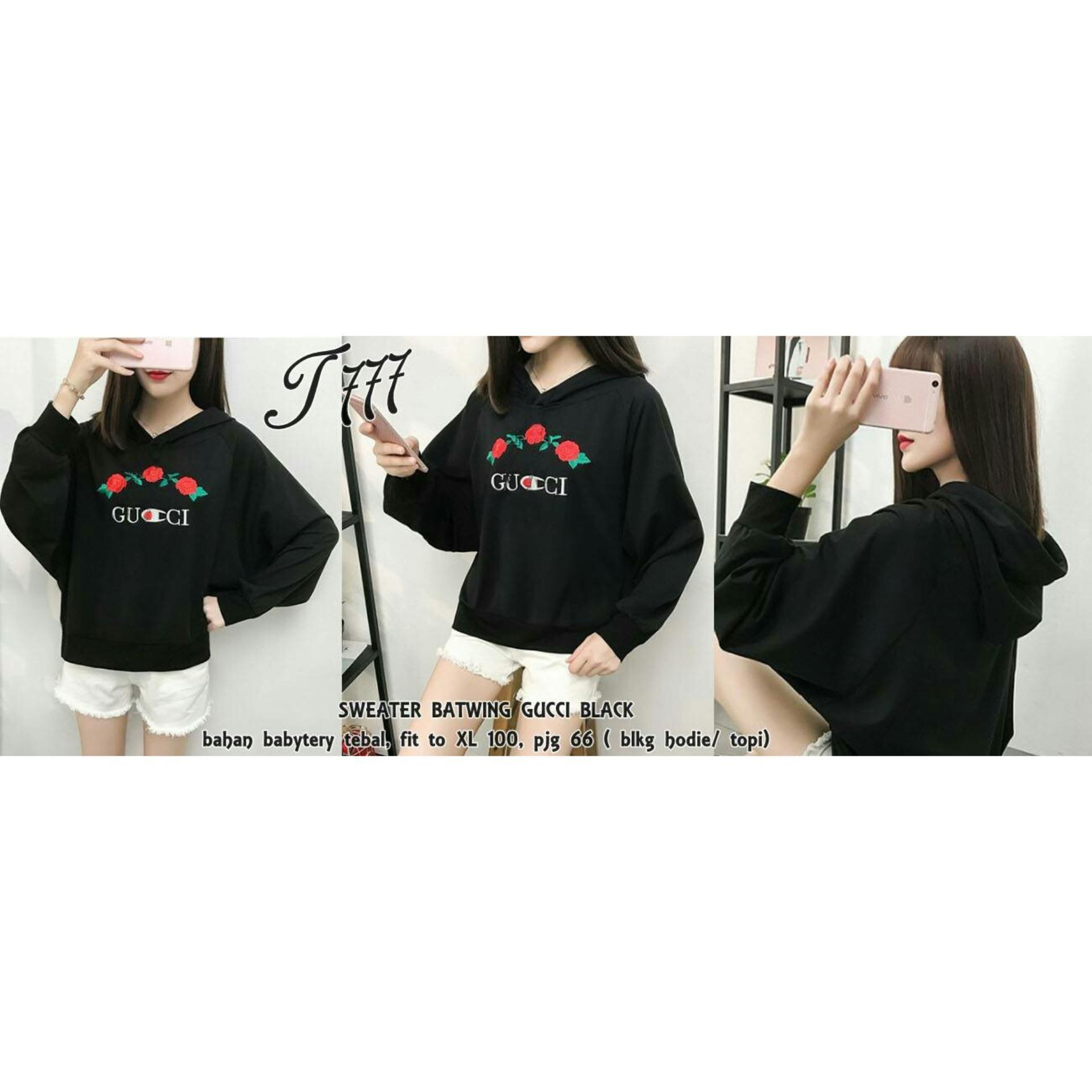 trendshopee Pakaian Hangat Wanita Sweater Batwing Gucci