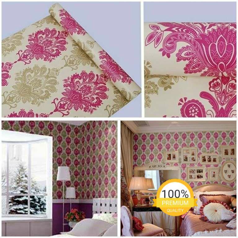 Wallpaper dinding murah ruang tamu kamar tidur batik pink kuning kream terbagus terlaris elegan minimalis