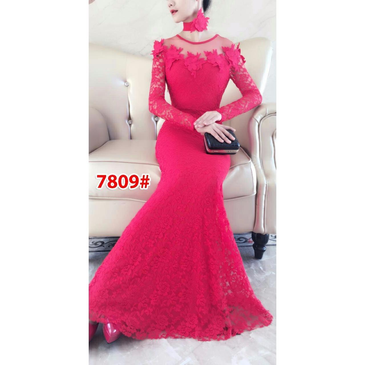 7809# baju pesta import  / gaun pesta import / baju pesta brokat / longdress fashion import / gaunpanjang