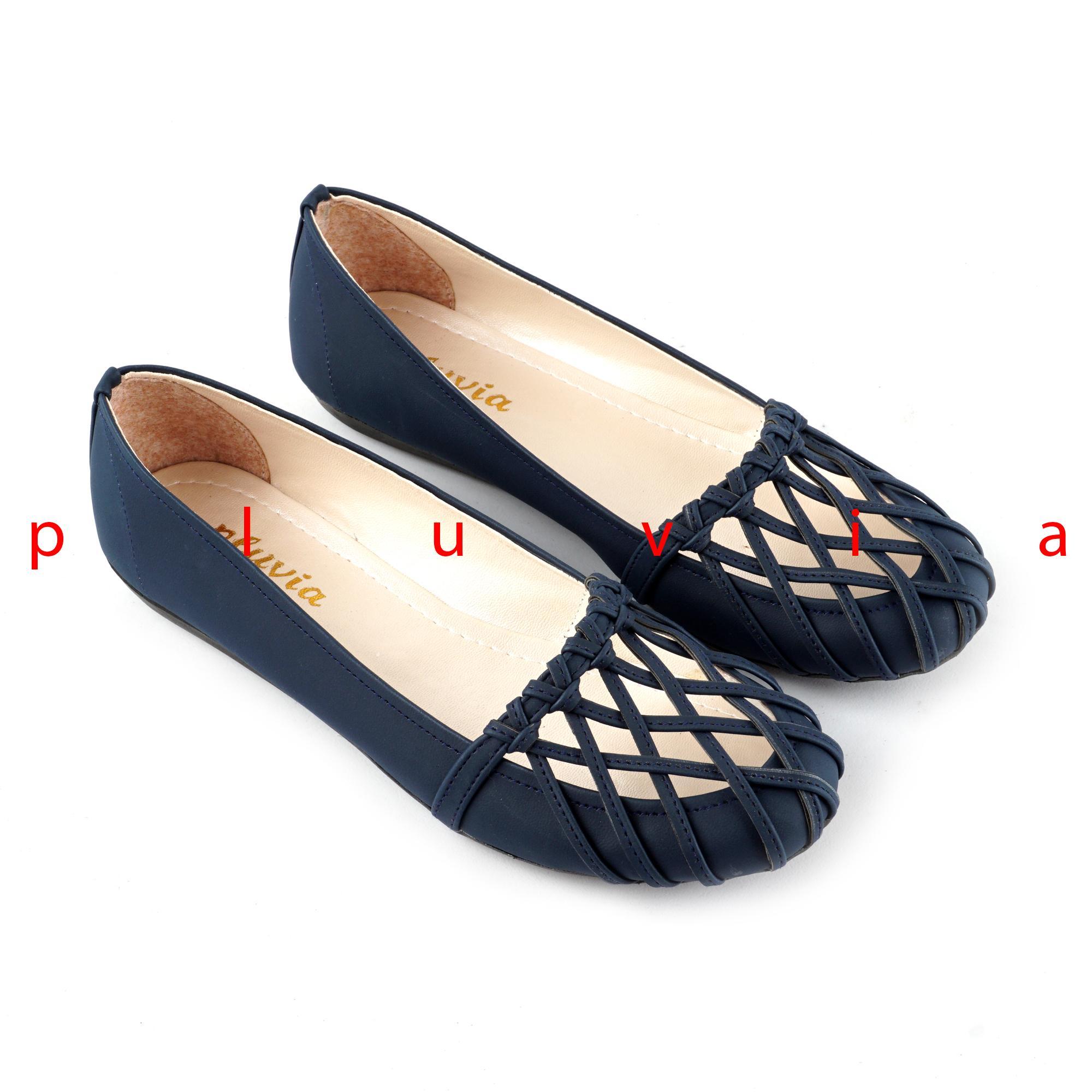 Pluvia - Sepatu Balet Flat Shoes Slip On Wanita PLV74 - Navy 9d3670f4c4