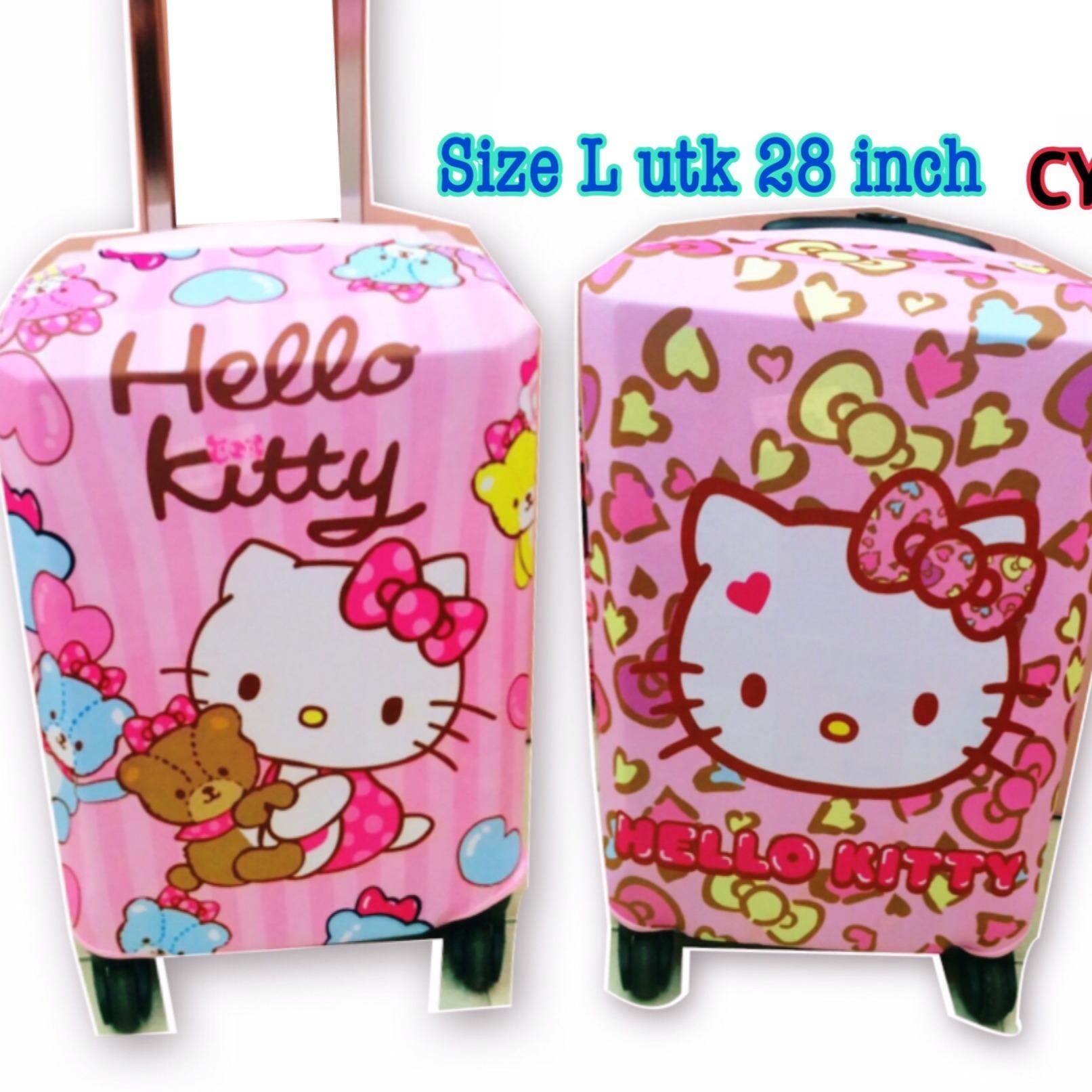 Sarung koper 28 inch size L Kain Hello kitty
