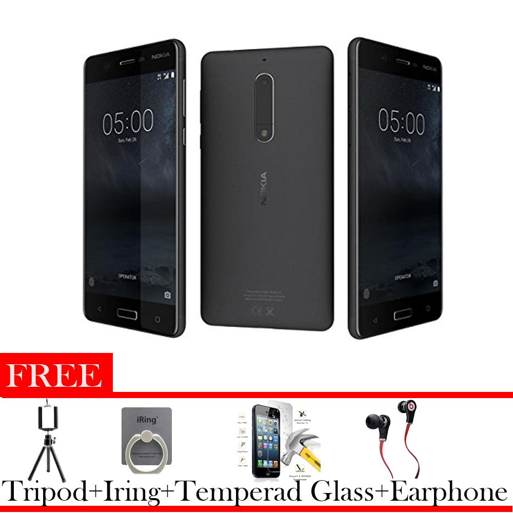 Nokia 5 Android 52 3 16 Gb 4g Lte Earphone Tripod I Ring Tempered Glass Lumia 720 Resmi Red