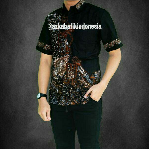 Jual Baju Batik Pria Baju Batik Modern Kemeja Batik Pekalongan Hem Batik Kemeja Motif Wayang Coklat