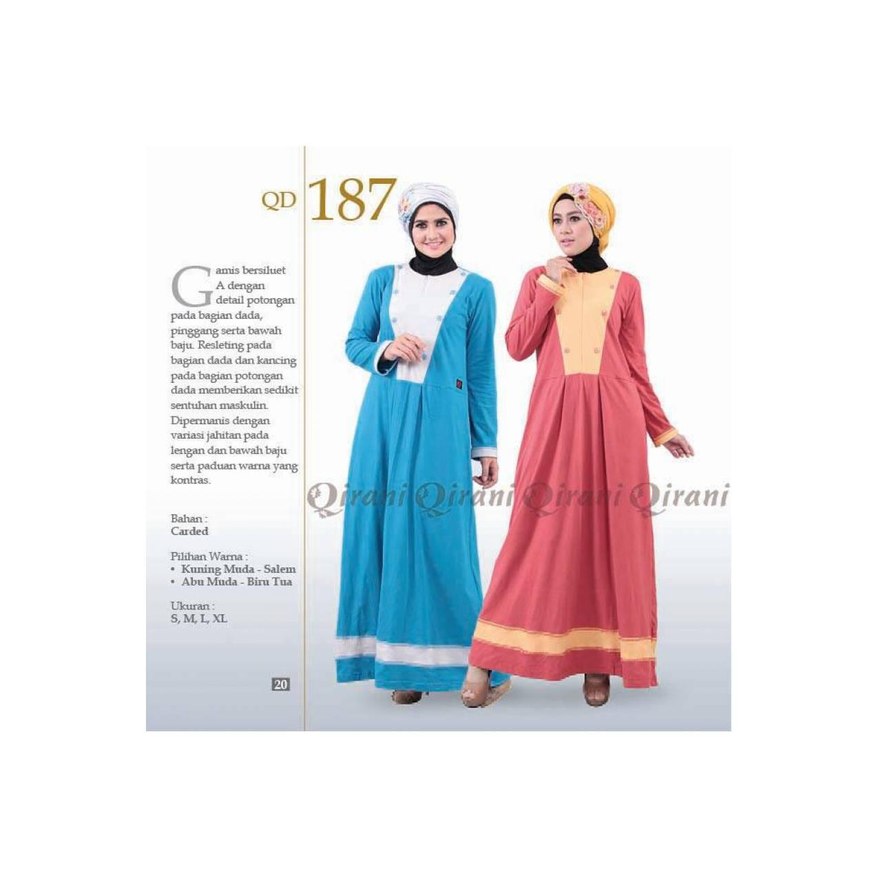 Baju Muslimah Gamis Murah Bahan Kaos QIRANI QD - 187