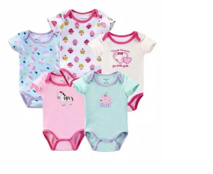 jamper bayi carters lengan pendek 1 pack isi 5 pcs motif cewek jumper bayi motif random