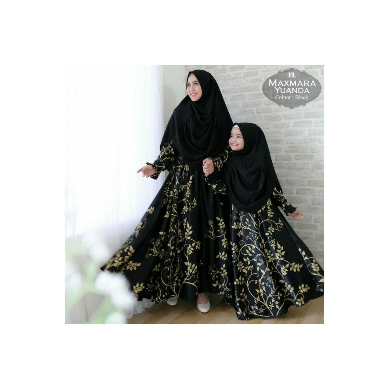 gamis Couple pesta maxmara yuanda murah / baju muslim ibu anak hitam