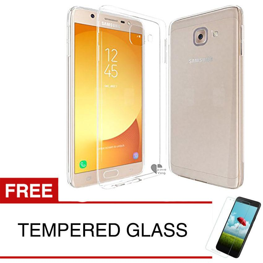 Case for Samsung Galaxy J7 MAX 2018 / G615 - Clear + Gratis Tempered Glass - Ultra Thin Soft Case