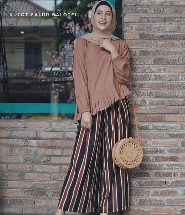 D.ONE.SHOP Kulot Streap Salir Panjang Wanita / Celana Panjang Wanita