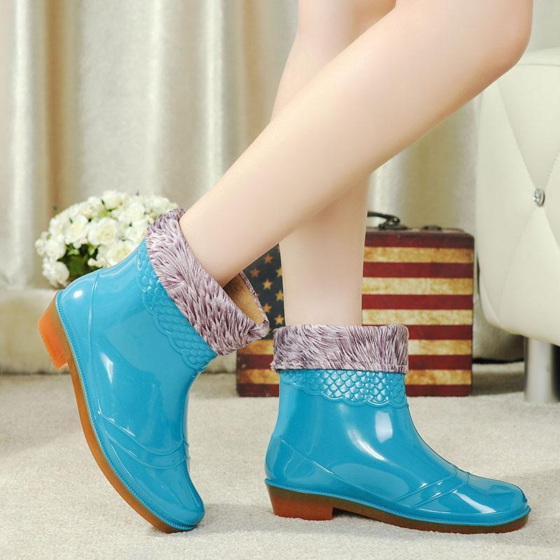 Musim gugur musim dingin Penghangat pekerjaan dapur laundry sepatu boots  hujan wanita di Pendek sepatu anti 5fc43973d5