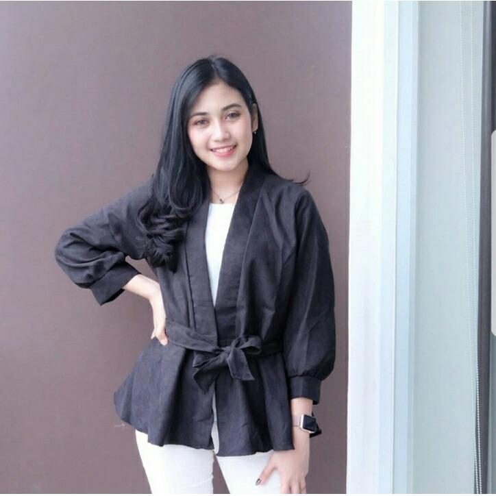 J&C Dinata Black / Outer Wanita / Kardigan Wanita / Atasan Wanita / Outer Model Kimono