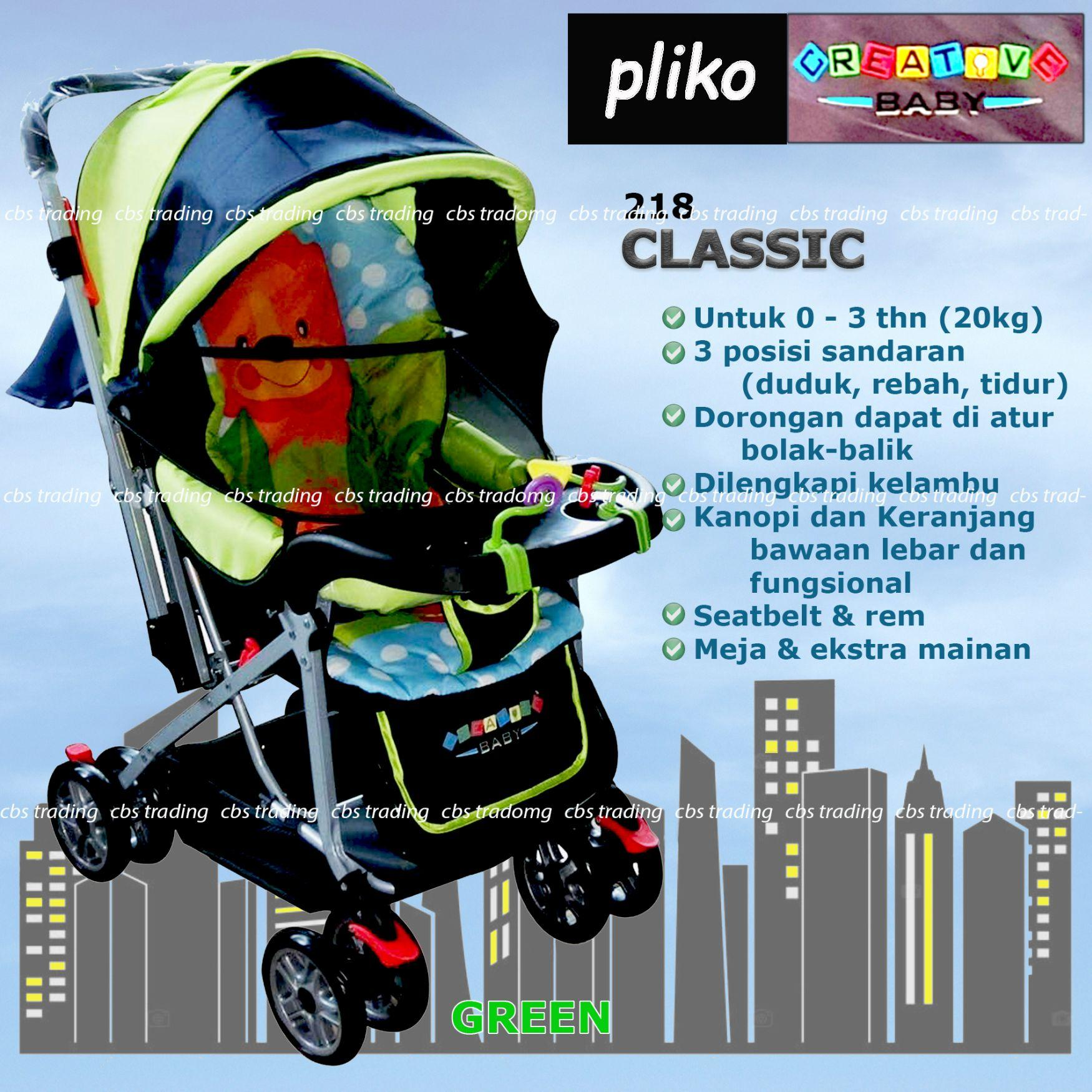 Pliko Creative Classic Baby Stroller BS-218 Lightweight - Kereta Dorong Bayi - Hijau