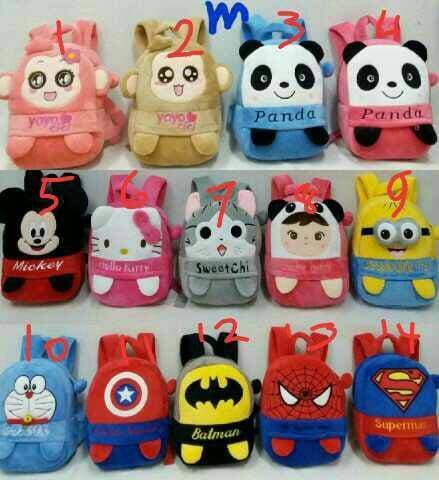 ORIGINAL!!! Tas Ransel Anak Karakter Boneka Tangan Super Hero Sz M Import