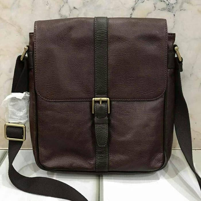 HOT PROMO!!! Fossil Men Estate Messenger Dark Brown Leather. Tas Pria Fossil Ori - Ce6t0t