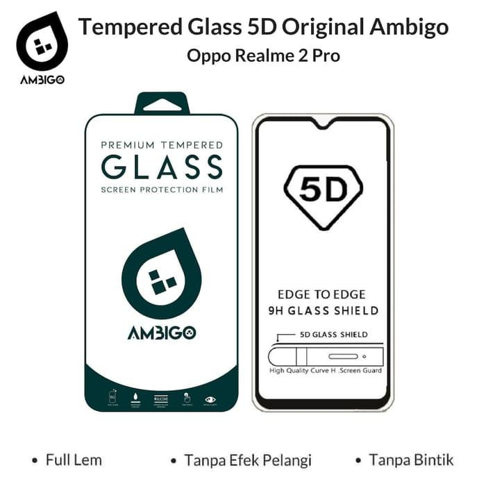 Accessories Hp Ambigo Tempered Glass 5D Full Cover Warna / Anti Gores Kaca Full Lem For OPPO Realme 2 Pro