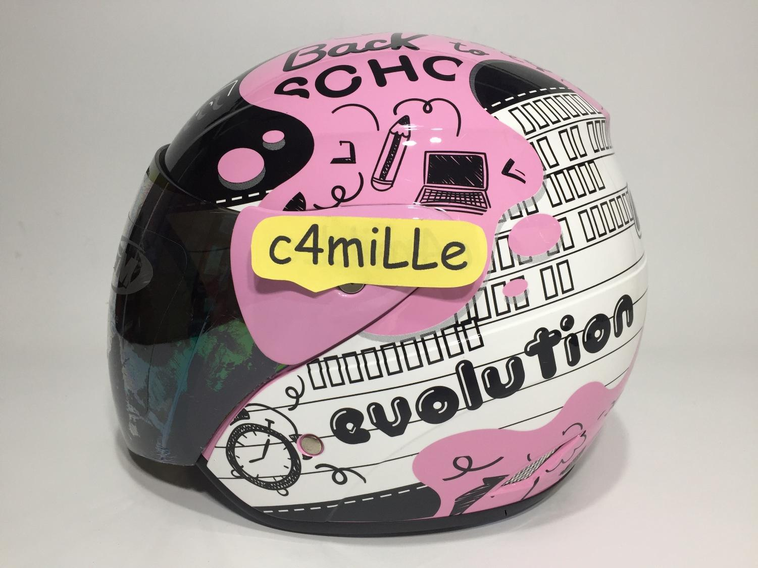 HELM GM EVO NOTE LIGHT PINK BLACK HALF FACE SIZE M