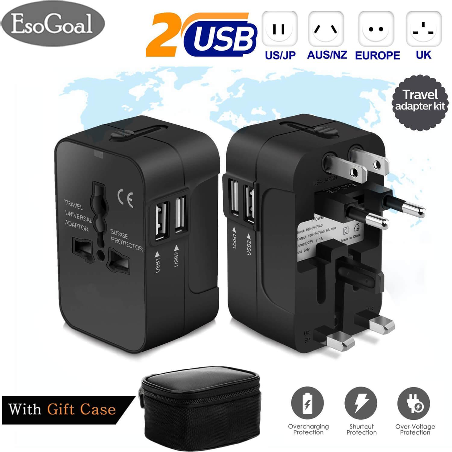Esogoal Adapter Konverter Travel Adapters Converters, All In One International Universal Multi-Outlets Wall Power Travel Adaptor With 2 Usb Charging Ports Uk/usa/eu/aus Worldwide Converter Plug Charger For Laptops,phones,tablets And More By Esogoal