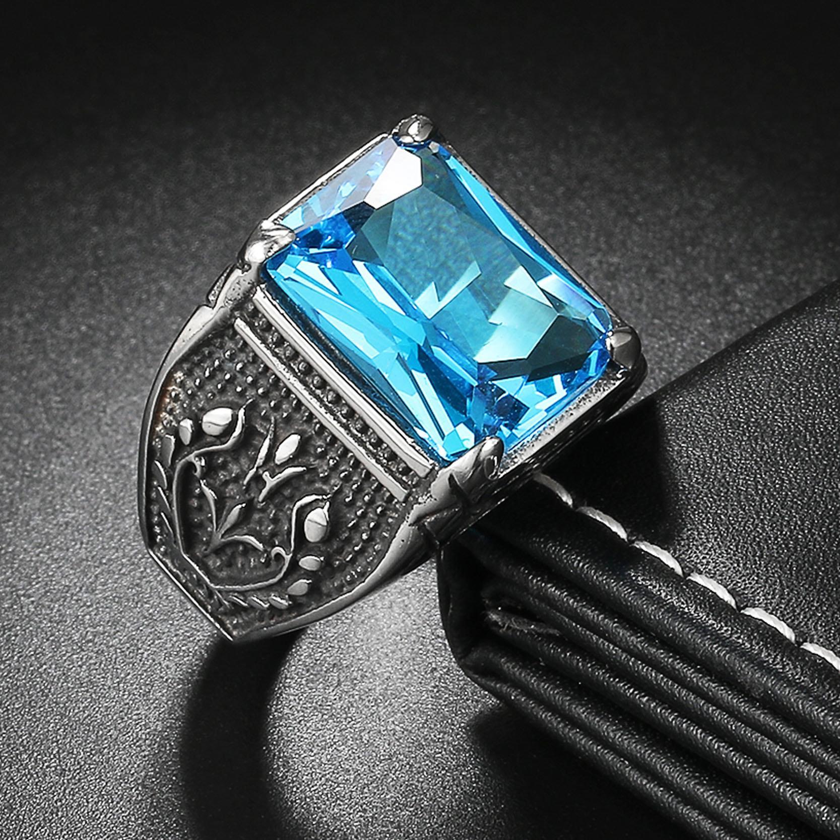 Rp 235.000. Diskon Promo Perhiasan Aksesoris Cincin Pria Vintage CZ Stone Punk Style 316L Titanium Steel ...
