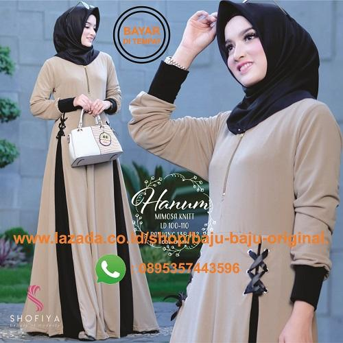 Baju Original Gamis Hanum Dress Wolfice Baju Muslim Terbaru 2018 Baju  Wanita Gamis Casual Baju Terusan 4647aba311