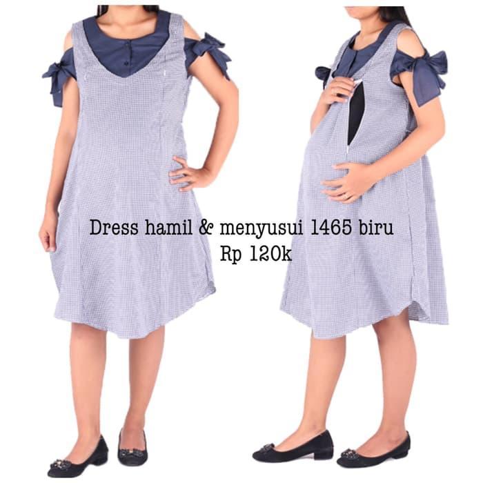Dress Hamil Baju & Menyusui 1465 Biru Murah Bayi