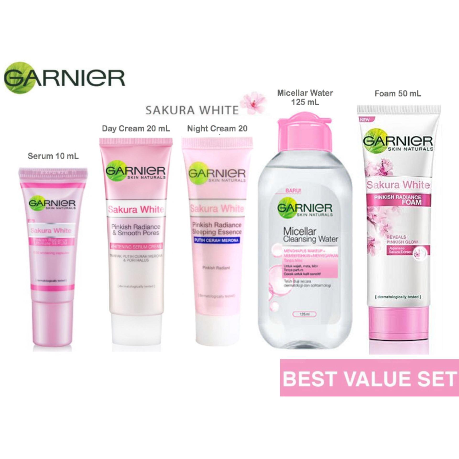 Produk Kecantikan Garnier Terbaru Light Complete Day Cream 20 Gr Paket Sakura White Komplit Ml Serum 10 Foam