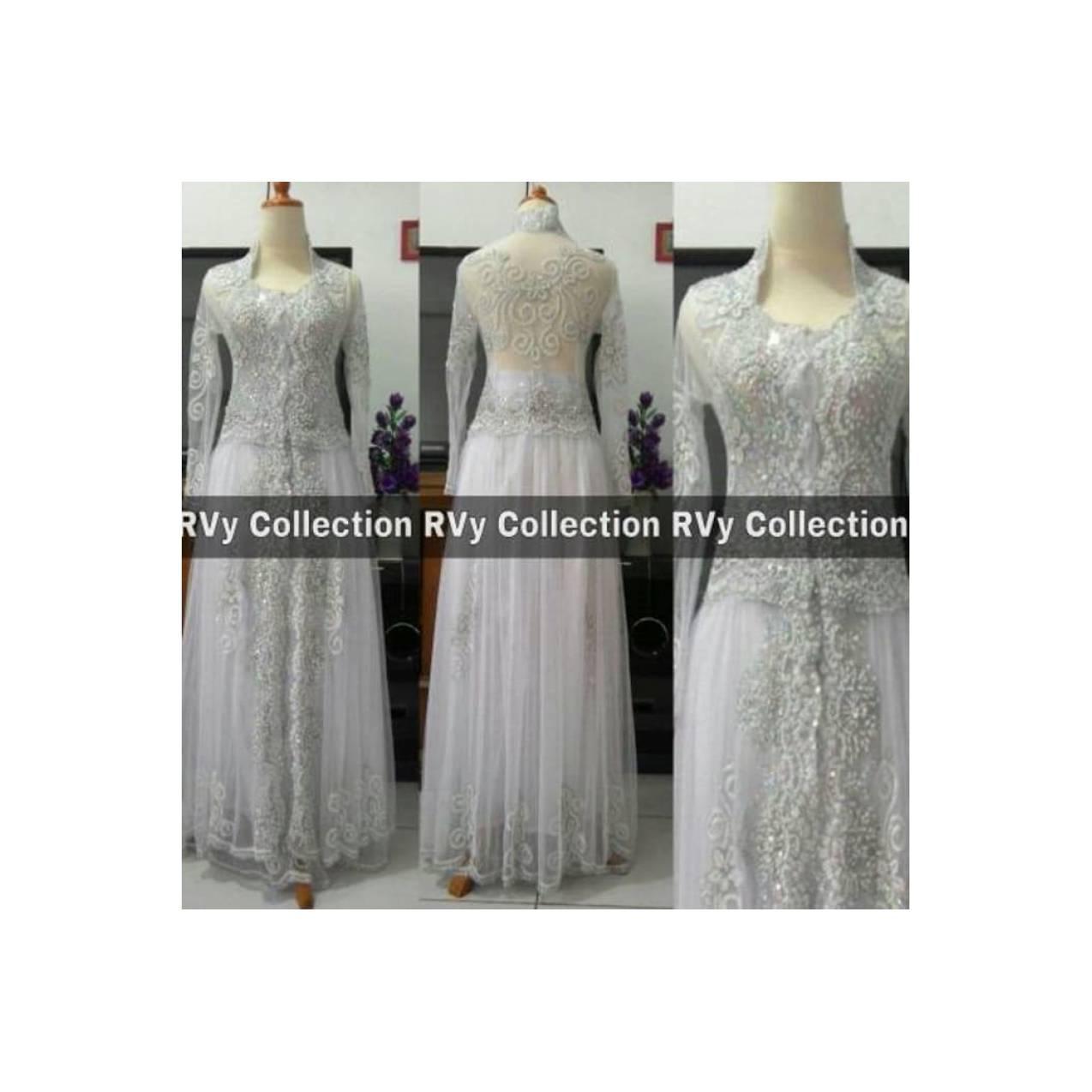 Abaya TERBARU Set Kebaya Abaya Akad Nikah Putih (Pengantin/Resepsi)