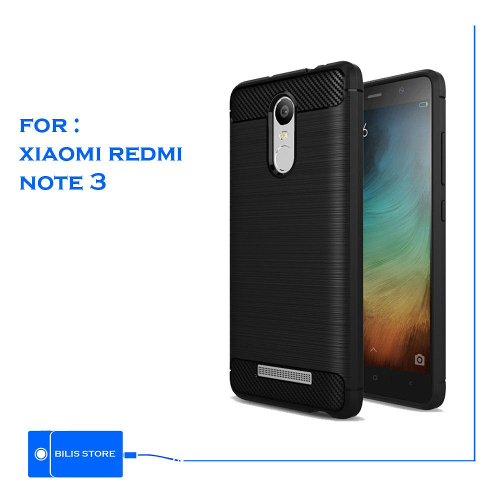 Case Ipaky Silikon Carbon Case Cover Xiaomi Redmi Note 3 Casing Shockproof Black Color Brush Carbon