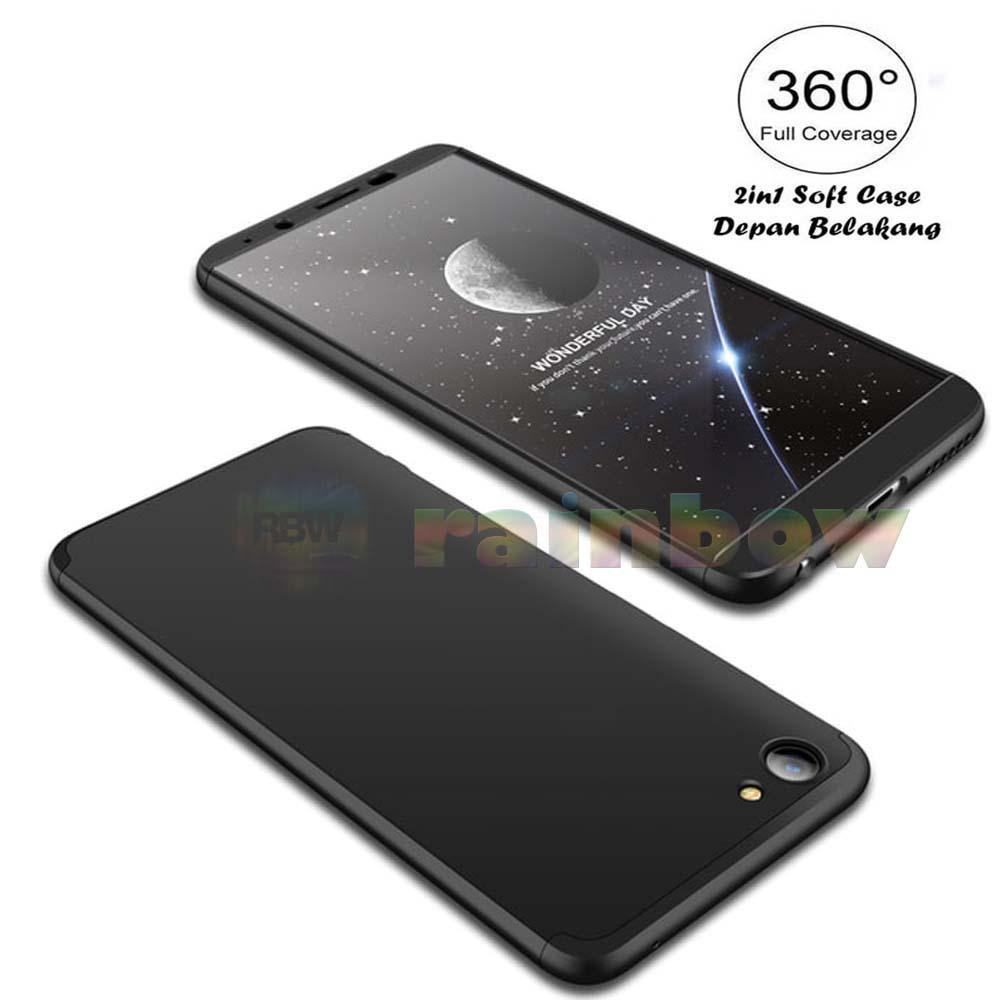 Rainbow Case 360 Vivo Y71 Black 2in1 Case Fullbody Depan Belakang 2 in 1 Double Case Silky Case Vivo Y71 / Silikon Vivo Y71 Soft Case Baby Skin Softcase ...