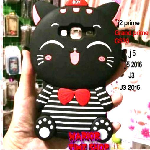 Case 4D Kucing Samsung J2 Prime,Grand prime G530, j3 ,j3 2016, j5, j52016 /Silikon /Boneka /Karakter /3D /Kartun