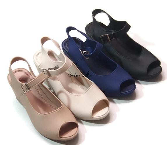 Sandal Wedges Jelly Wanita Import VIO L358PS Dikirim Random