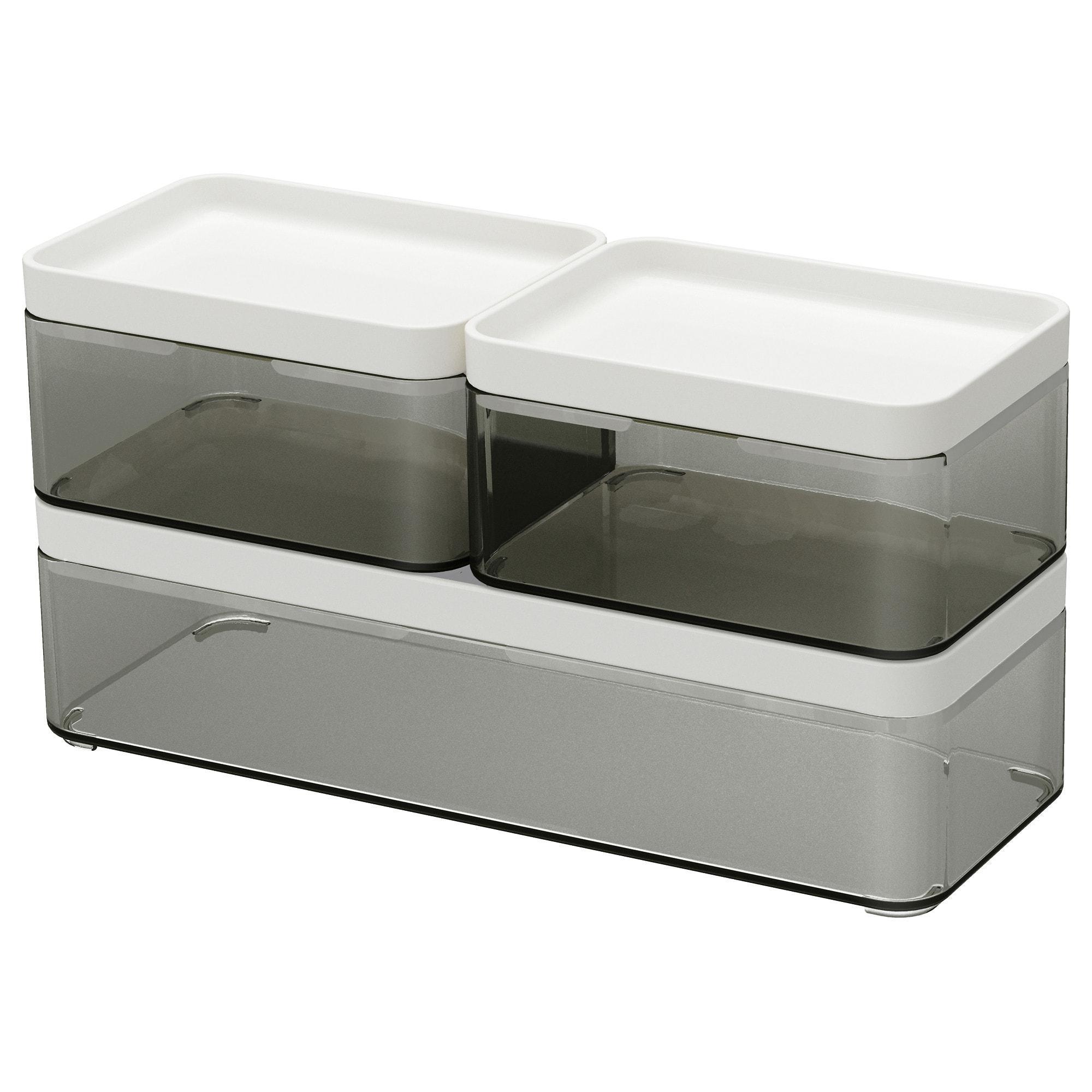PROMO!! IKEA BROGRUND Kotak, set isi 3, abu-abu transparan, putih MURAH /  BUBBLE 3 LAPIS / ORIGINAL / IKEA ORIGINAL