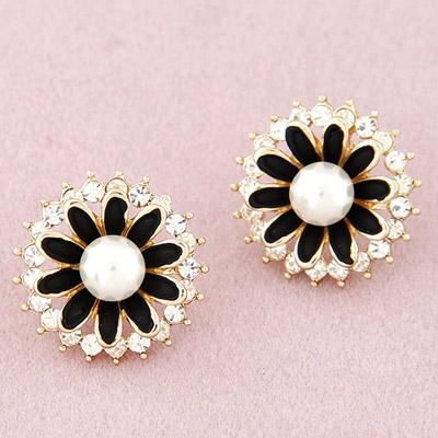 LRC Anting Tusuk Little Black Diamond Decorated Flower Design