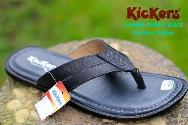 Harga Promo!!! Sandal Kulit Kickers Pria Kasual Asli Slip On Jepit Buat Lebaran Hitam - ready stock