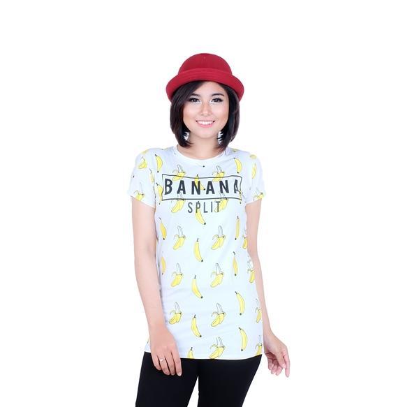 LEMONE Tumblr Tee T shirt Kaos Cewe Spandek Premium Baju Wanita KAE100018 Putih Banana