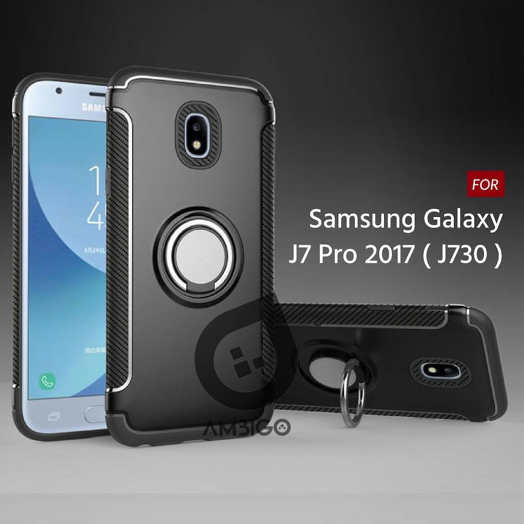 Ambigo Case Samsung Galaxy J7 Pro 2017 ( J730 ) Ring Carbon Kickstand Hybrid