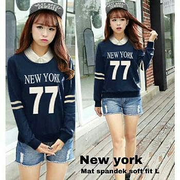 J&C Atasan New York / Baju Pendek Wanita / Kaos Lengan Panjang / T-Shirt Wanita / Kaos Spandek / Shirt Dress / Mini Dress Twistcone / T-Shirt Spandek